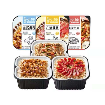 Picture of Mo Xiaoxian Claypot Rice,flavor(Mushroom beef, Taiwanese braised pork, Cantonese sausage) 265g,1 box, 1*18 box,莫小仙煲仔饭(菌菇牛肉煲仔饭,台式卤肉煲仔饭,广式腊肠煲仔饭)265g,1盒,1*18盒
