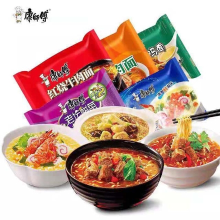 Picture of Master Kong Instant noodles Bagged,flavor(Braised beef, scallion pork ribs, spicy beef, hot and sour beef, hongshao beef, mushroom stewed chicken, pickled pepper beef, rattan pepper beef noodles, shrimp fish plate, Laotan sauerkraut beef)About 100g,1 pack, 1*24 pack