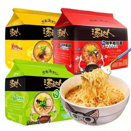 Picture of Tangdaren instant noodles in bags (sour and spicy tonkotsu noodles, Japanese tonkotsu noodles, spicy beef noodles)1 pack contains 5 sachets (125g-130g),1 pack, 1*6 pack|汤达人方便面袋装(酸辣豚骨面,日式豚骨面,辣牛肉汤面)1包内含5小袋(125g-130g),1包,1*6包