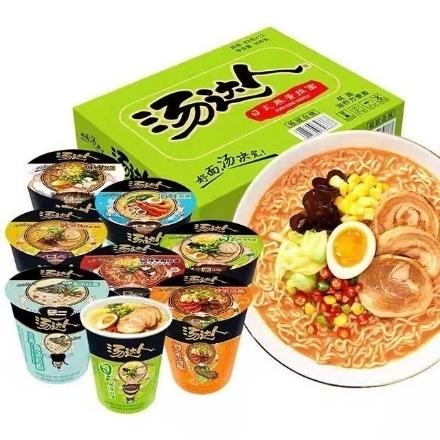 Picture of Tangdaren Cup Noodles (Japanese-style tonkotsu ramen, hot and sour tonkotsu ramen, seafood ramen, borscht noodles, spicy beef noodles),1 cup, 1*12 cup|汤达人杯面(日式豚骨拉面,酸辣豚骨拉面,海鲜拉面,罗宋汤面,辣牛肉汤面)82g-90g,1杯,1*12杯