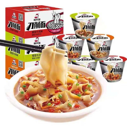 Picture of Gu Dasao knife-cut noodles (Spicy oil, beef with pickled vegetables, spicy beef),1 box, 1*12 box|顾大嫂刀削面(泼油辣子,雪菜牛肉,香辣牛肉),1盒,1*12盒